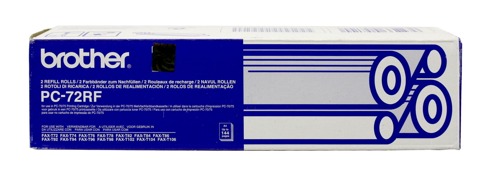 brother pc 72rf black thermal transfer ribbon fax t102 genuine new sealed ebay. Black Bedroom Furniture Sets. Home Design Ideas